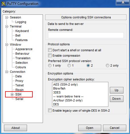 PuTTY: настройка SSH